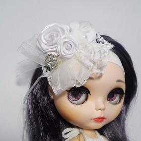 Tiara Bonecas Blythe E Icy Branca Com Rosas E Renda