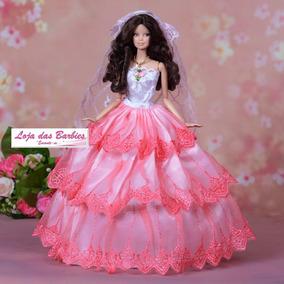 Vestido De Noiva Luxo P/ Boneca Barbie + Véu Luva Sapato 16n