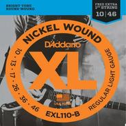 Encordoamento Guitarra Daddario Exl110 B 010 Corda Mi Extra