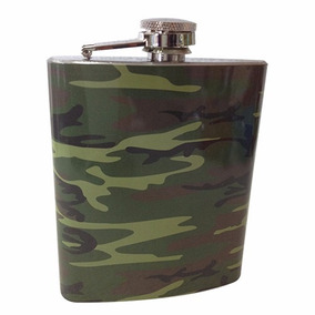 Cantil Camuflado Militar 7 Oz Porta Bebida Bolso Inox Whisky