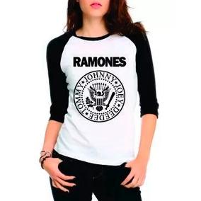 Camiseta Ramones Raglan Manga 3/4 Feminina Rock, Personaliza