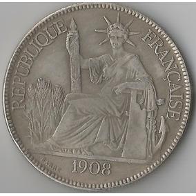 Moeda De Prata Da França Indochina - 1908