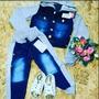 Conjunto Infantil Jaqueta E Calça Jeans Moleton Frete Gratis