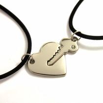 Conjunto De Colares + Pingentes Chave E Coração Namorados