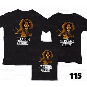 Camiseta Madagascar Alex Leão Personalizada Aniversário C/ 3