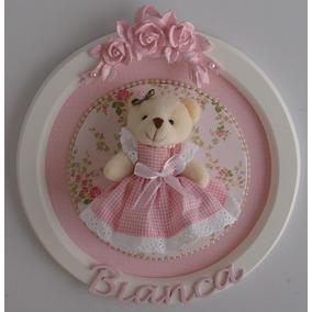 Placa Quadro Porta Maternidade Bebê Ursa Ursinha C/ Nome