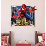 Adesivo De Parede Homem Aranha Spider Man Janela Efeito 3d