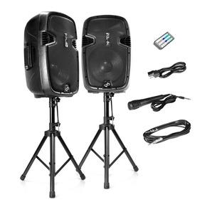 Bocinas Dj Pyle 12 Bluetooth Pedestales Microfono 1800 Watt