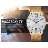 Reloj Curren Dorado Oro Cuarzo Acero Inoxidable Lujo Calidad