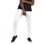 Jean Hombre Chupin Blanco Roturas Elastizado Premium Kfive
