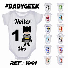 Kit 12 Body Mesversario Herois Cute Nome Personalizado