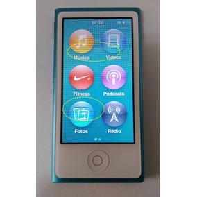Ipod Nano Azul 16gb 7 Ger Usado (linha Lcd) Parc Leia Bf0gp
