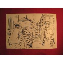 Par De Antiguos Dibujos A Tinta Del Caricaturista José Cruz