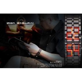 Relógio Pulseira Led Iron Samurai- Preto/led Vemelho