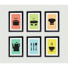 6 Quadros Decorativos Cozinha Moldura Laqueada Frete Gratis