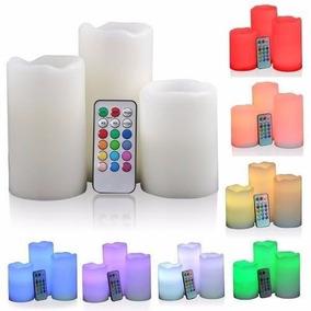 kit velas multicolor led grandes control remoto efecto luz