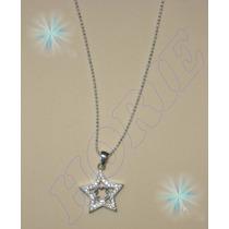 Preciosa Cadena Y Dije Estrella Con Zirconias Plata .925