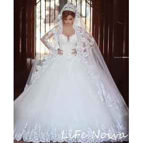 Vestido Noiva Com Veu Casamento Manga Comprida Pronta Entreg