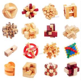 Kit Quebra Cabeça Puzzle Bamboo Madeira Com 16