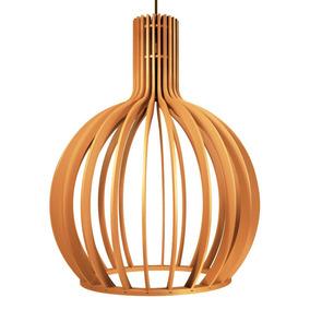 Pendente Octo De Madeira Luminária C/ Design Moderno 27x36cm