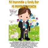 Kit Imprimible Candy Bar Comunión Varón Celeste Único!!!