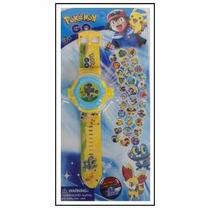 Relógio Projeta Desenho De 32 Pokemons Pikachu Ash- Promoção
