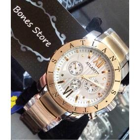 5cc26534c7a Relogio Atlantis Modelo Gigante Branco De Luxo Masculino - Relógios ...
