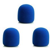Kit 3 Espumas Para Microfone De Mão Sm58 Azul Espuma