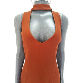 Vestido Largo Naranja Fosforescente Importado Original Leith
