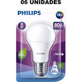 Kit 06 Lâmpada Led Bulbo 7.5w Branco Frio Original Philips