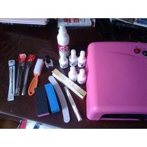 Kit 5 Gelish Lampara 36 Uv Limas Primer Sanitizante Aceite C