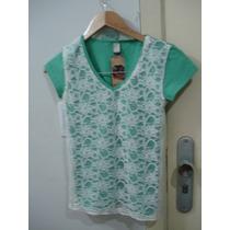 Blusa Verde Renda Branca Nova Malha Algodão Elastano P