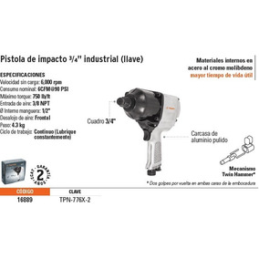 Llave Neumática Impacto, Industrial,3/4 . Truper