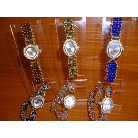 Reloj Chapa Oro Cuentas Cristal Mayoreo Dama