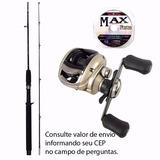 Kit Pesca Carretilha Elite 3000 + Vara 1,80m 25lbs + Linha