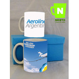 Aerolineas Argentina Dos Tazas Caja Forrada Ideal Regalo