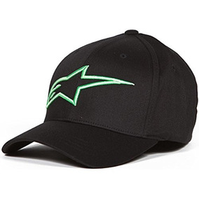 Alpinestars Hombre Logoastar Hat, Negro / Monster Green, Gr