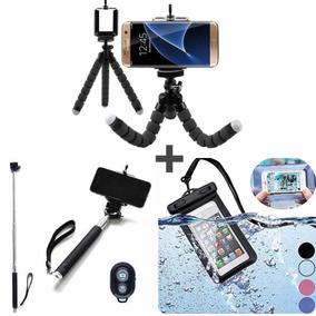 Kit Celular Monopod Selfie Tripé Flexível E Bolsa Prova Dág