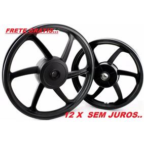 Par Roda Liga Leve 6 Palitos Preto Fosco Honda Biz 125