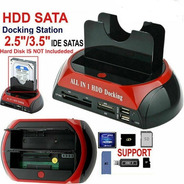 Dock Station 2 Disco Duro 2.5 3.5 Sata Ide Hub Usb Lector Sd