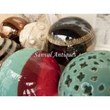 Set 2 Esferas Decorativas Cerámica Vintage Deco Centro Mesa