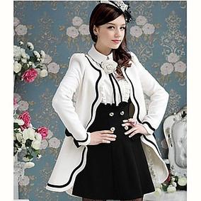 Abrigo Blanco Moda Asiática (más Regalo)