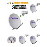 05 Kits Antenas Vivo 60cm + Lnb Simples + Cabo