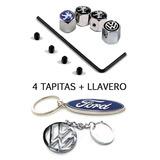 Tapas Cubre Válvula Antirrobo + Llavero De Auto