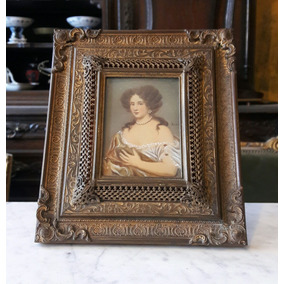 Antiguo Cuadro Miniatura Italiana Pintada Mano Marco Bronce