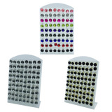 3 Cartela De Brincos Pedras Strass - Escolha Cor - 36 Pares