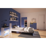 Dormitorio Juvenil Cama 1+mesa Luz+comoda+placard Nena Varon