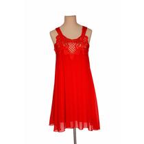 Vestido Rojo Gasa Y Encaje Fiesta Noche Civil T Unico Nofret