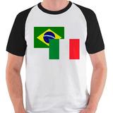 Camiseta Bandeira Itália Brasil Viagem Camisa Blusa Raglan