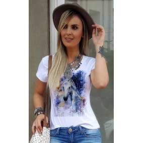 T Shirt Feminina Cavalo Blusa Country Camiseta Top Cowgirl